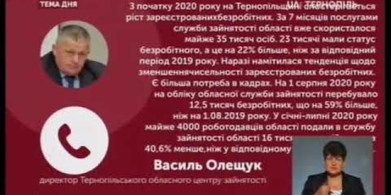 Вбудована мініатюра для Через карантин на Тернопільщині побільшало безробітних